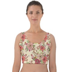 Vintage Flowers Pattern Velvet Crop Top by goljakoff
