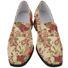 Vintage Flowers Pattern Women s Chunky Heel Loafers by goljakoff