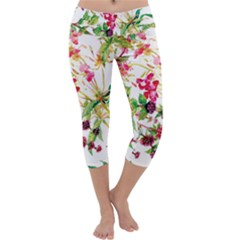 Painting Flowers Capri Yoga Leggings by goljakoff