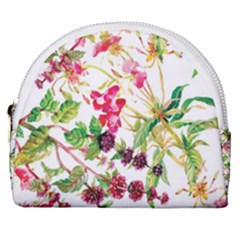 Painting Flowers Horseshoe Style Canvas Pouch