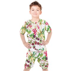 Painting Flowers Kids  Tee And Shorts Set by goljakoff