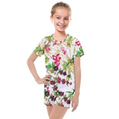 Painting Flowers Kids  Mesh Tee And Shorts Set