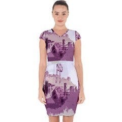 Abstract Painting Edinburgh Capital Of Scotland Capsleeve Drawstring Dress  by Sudhe
