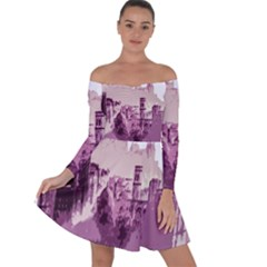 Abstract Painting Edinburgh Capital Of Scotland Off Shoulder Skater Dress by Sudhe