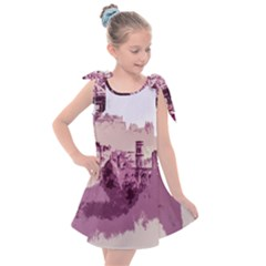 Abstract Painting Edinburgh Capital Of Scotland Kids  Tie Up Tunic Dress