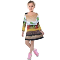 Abstract Barbeque Bbq Beauty Beef Kids  Long Sleeve Velvet Dress