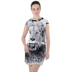 Lion Wildlife Art And Illustration Pencil Drawstring Hooded Dress