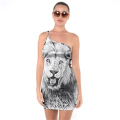 Lion Wildlife Art And Illustration Pencil One Soulder Bodycon Dress