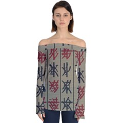 Ancient Chinese Secrets Characters Off Shoulder Long Sleeve Top