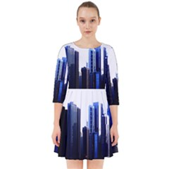Abstract Of Downtown Chicago Effects Smock Dress