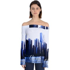 Abstract Of Downtown Chicago Effects Off Shoulder Long Sleeve Top