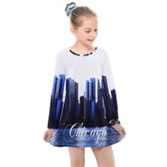 Abstract Of Downtown Chicago Effects Kids  Long Sleeve Dress by Sudhe