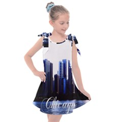 Abstract Of Downtown Chicago Effects Kids  Tie Up Tunic Dress