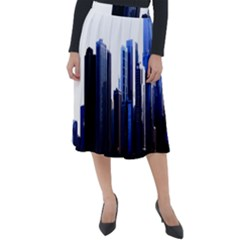 Abstract Of Downtown Chicago Effects Classic Velour Midi Skirt