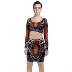 The Tiger Face Top And Skirt Sets