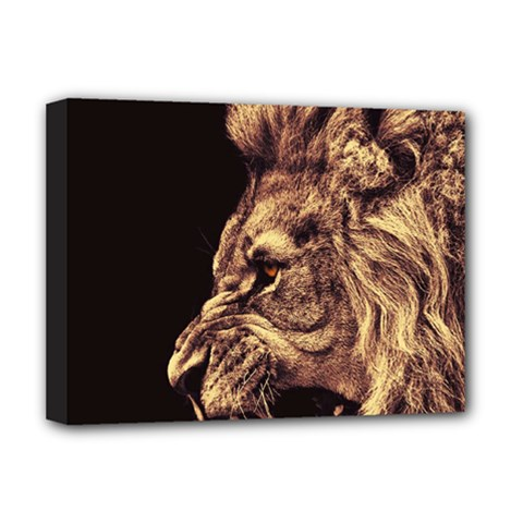 Angry Male Lion Gold Deluxe Canvas 16  X 12  (stretched)  by Sudhe