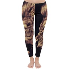 Angry Male Lion Gold Classic Winter Leggings