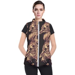 Angry Male Lion Gold Women s Puffer Vest