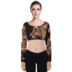 Angry Male Lion Gold Velvet Long Sleeve Crop Top