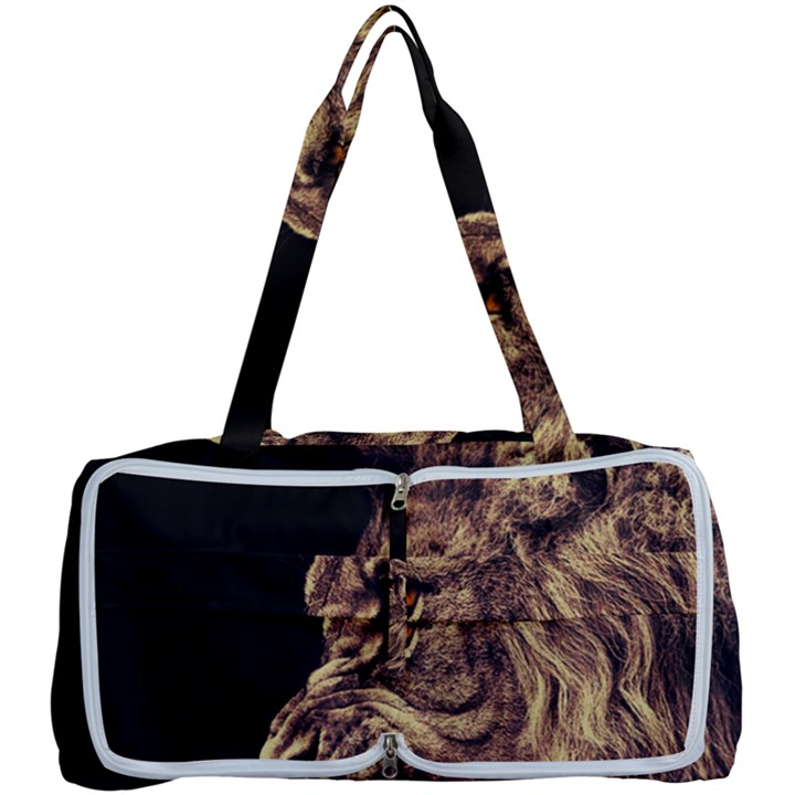 Angry Male Lion Gold Multi Function Bag