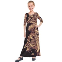 Angry Male Lion Gold Kids  Quarter Sleeve Maxi Dress