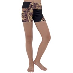 Angry Male Lion Gold Kids  Lightweight Velour Yoga Shorts