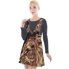 Angry Male Lion Gold Plunge Pinafore Velour Dress