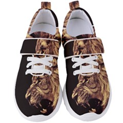 Angry Male Lion Gold Women s Velcro Strap Shoes
