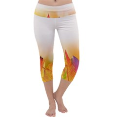 Autumn Leaves Colorful Fall Foliage Capri Yoga Leggings by Sudhe