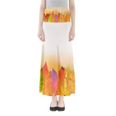 Autumn Leaves Colorful Fall Foliage Full Length Maxi Skirt