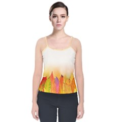 Autumn Leaves Colorful Fall Foliage Velvet Spaghetti Strap Top