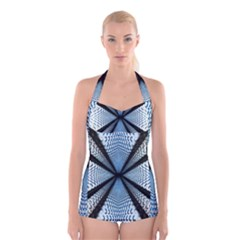 6th Dimension Metal Abstract Obtained Through Mirroring Boyleg Halter Swimsuit