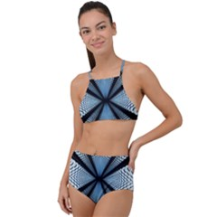 6th Dimension Metal Abstract Obtained Through Mirroring High Waist Tankini Set