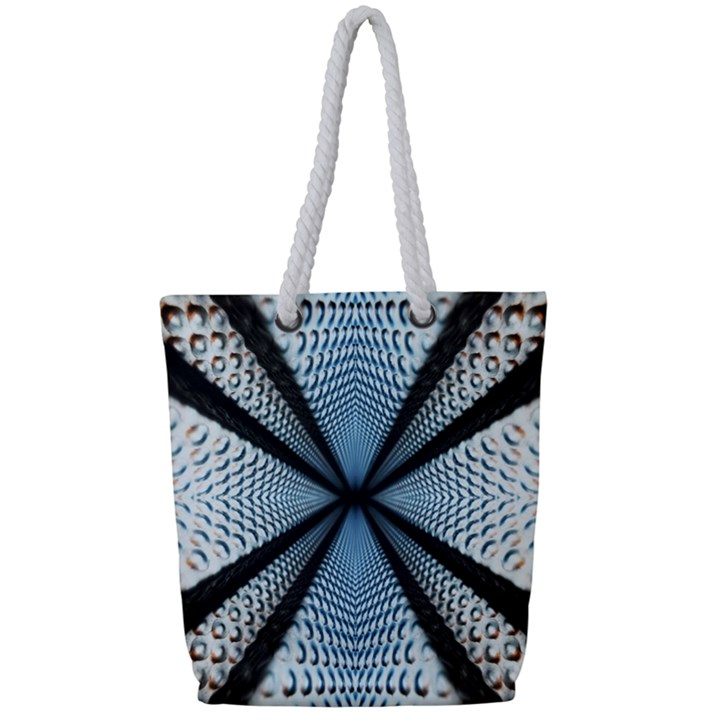 6th Dimension Metal Abstract Obtained Through Mirroring Full Print Rope Handle Tote (Small)