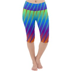 Abstract Fractal Multicolored Background Lightweight Velour Cropped Yoga Leggings by Sudhe