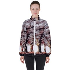Autumn Fractal Forest Background High Neck Windbreaker (women)