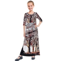 Autumn Fractal Forest Background Kids  Quarter Sleeve Maxi Dress