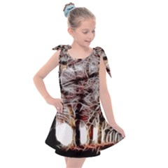 Autumn Fractal Forest Background Kids  Tie Up Tunic Dress