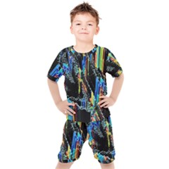 Abstract 3d Blender Colorful Kids  Tee And Shorts Set by Sudhe