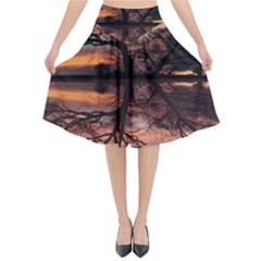 Aurora Sunset Sun Landscape Flared Midi Skirt