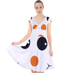 Happy Face With Orange Nose Vector File Cap Sleeve Front Wrap Midi Dress
