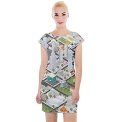 Simple Map Of The City Cap Sleeve Bodycon Dress