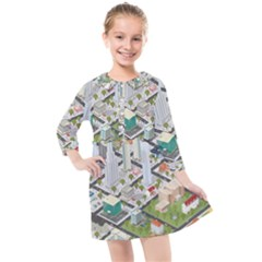 Simple Map Of The City Kids  Quarter Sleeve Shirt Dress