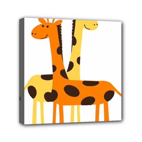 Giraffe Africa Safari Wildlife Mini Canvas 6  X 6  (stretched)