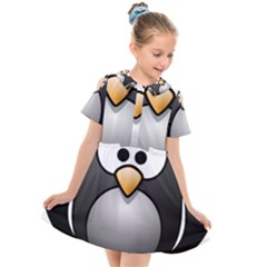 Penguin Birds Aquatic Flightless Kids  Short Sleeve Shirt Dress