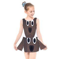 Dog Pup Animal Canine Brown Pet Kids  Skater Dress Swimsuit