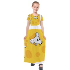 Rat Mouse Cheese Animal Mammal Kids  Short Sleeve Maxi Dress