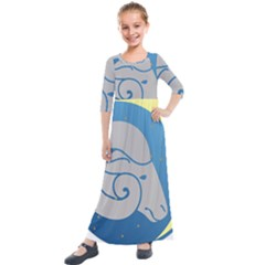 Ram Zodiac Sign Zodiac Moon Star Kids  Quarter Sleeve Maxi Dress
