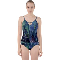 City Night Landmark Cut Out Top Tankini Set