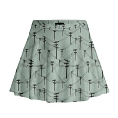 Telephone Lines Repeating Pattern Mini Flare Skirt
